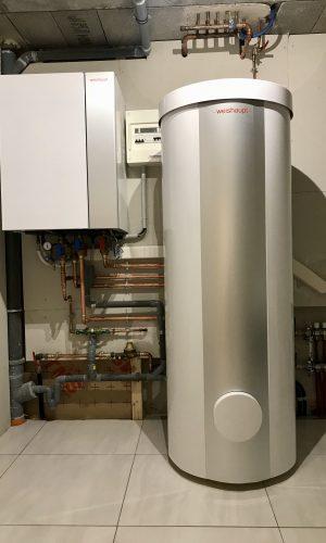 Pompe à chaleur de marque Weishaupt bi-bloc avec production d'eau chaude